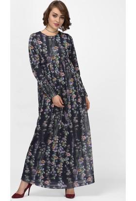 İroni Çiçek Desenli Siyah Uzun Elbise