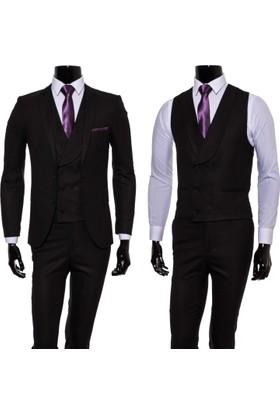 GiyimGiyim Siyah Kendinden Desenli Spor Yelekli Takım Elbise