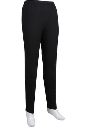 Osman Bey Kadın Büyük Beden Beli Tam Lastikli Yüksek Bel Likralı Kumaş Pantolon Siyah