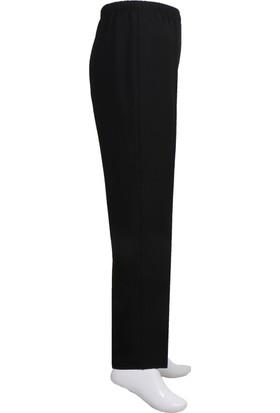 Osman Bey Süper Battal Büyük Beden Beli Tam Lastikli Yüksek Bel Likralı Kumaş Pantolon Siyah