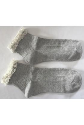 İstediğim Çorap Dantelli Desenli Soket Çorap Gri Melanj 1'li Paket