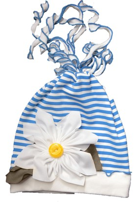 Babygiz Papatya Aksesuarlı Çizgi Desenli Şapka
