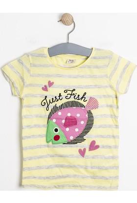 Soobe Pop Girls Balık Kısa Kol T-Shirt Limon Sarısı (3-12 Yaş)
