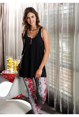 Yeni İnci BPJ1136 Sıfır Kollu Arkası Dantel Detaylı Kadın Pijama Takımı