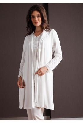 Yeni İnci BPJ109 Kısa Kollu Kadın 3'lü Lohusa Sabahlıklı Pijama Takımı