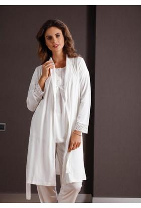 Yeni İnci BPJ149 Kısa Kollu Sabahlıklı Kadın Pijama Takımı