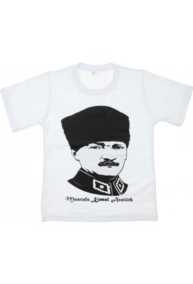 Modakids Unisex Çocuk Atatürk Baskılı Beyaz T-Shirt 019-1923-027