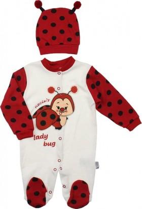 Modakids Kız Bebek Uğur Böcekli Şapkalı Tulum 037-88691-002
