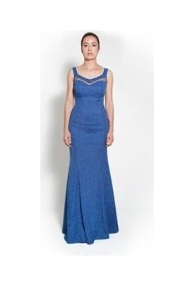 Kep&Balo Kadın Uzun Zırh Detaylı Abiye Elbise