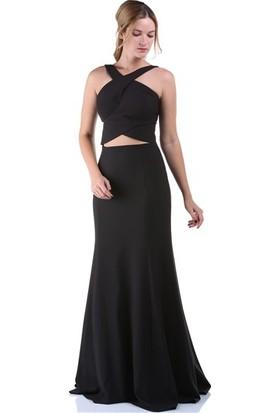 Kep&Balo Kadın Siyah Bel Detaylı Abiye Elbise