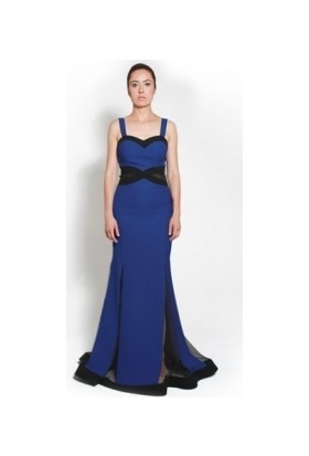 Kep&Balo Kadın Uzun Krep Saks Abiye Elbise