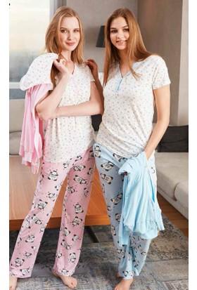 Feyza 2226 Kapişonlu Hırkalı Bayan Üçlü Pijama Takım