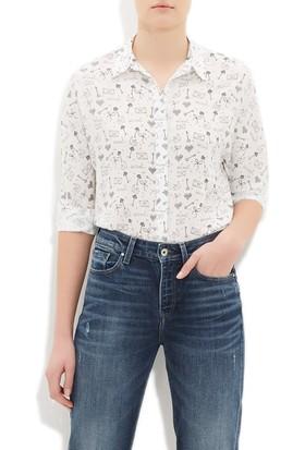 Mavi Kadın Baskılı Beyaz Gömlek
