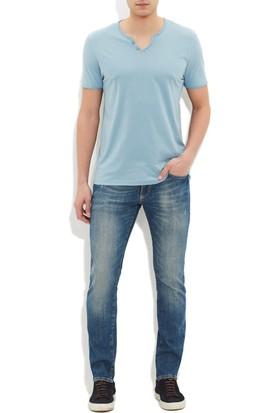 Mavi Erkek Düğmeli Yaka Mavi Basic T-Shirt