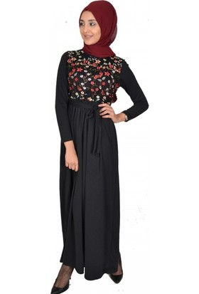 Modayns Nakışlı Elbise 3034-1 Siyah