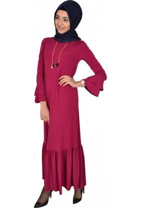 Modayns Volanlı Elbise 3003-1 Fuşya