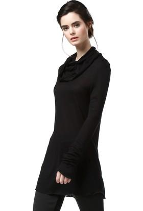 Quincey Kadın Siyah Triko Tunik Bd2162