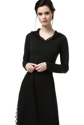 Demoda Kadın Siyah Kapşonlu Elbise Eb2 4