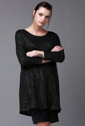 Quincey Siyah Pırıltılı Tunik Elbise