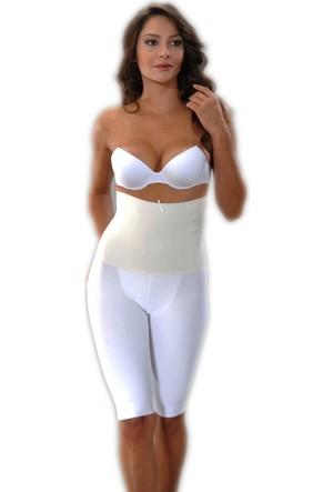 Menteş Beyaz Renk Kadınlara Özel Göbek, Basen ve Baldır İnceltici Pantolon Korse