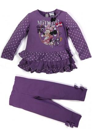 Soobe Disney Minnie Uzun Kol Kız Bebek T-Shirt Tayt Set Lila (1-7 Yaş)