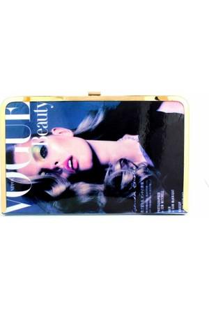 Hane14 Vogue Beauty Renkli Baskılı Portföy Çanta