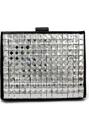 Hane14 Crystal Box Taşlı Siyah Clutch Çanta