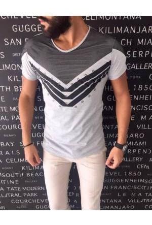 Oksit Slimfit Officer T Shirt Gri