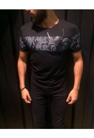 Oksit Slimfit Ag Şerit Spider T Shirt Siyah