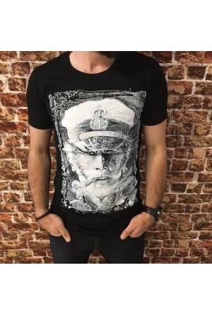 Oksit Slimfit Baskılı Admiral T Shirt Siyah