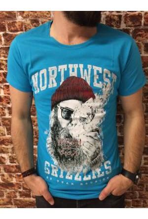 Oksit Snzy Northwest Slim Fit Tshirt Turkuaz