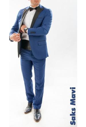 Deepsea Saks Mavi Şal Yaka Kendinden Desenli Erkek Slim Fit Takım Elbise 1610097-025