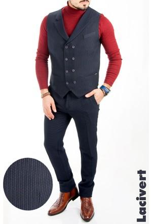 Deepsea Lacivert Petek Desenli Çift Düğmeli Erkek Pantolon Yelek Takım 1609076-008