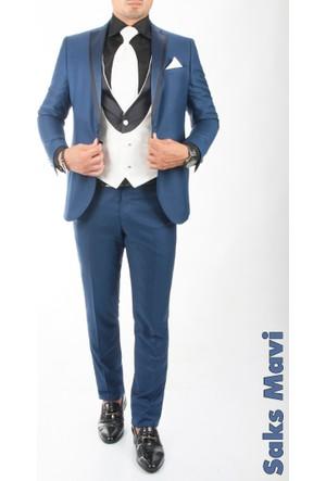 Deepsea Saks Mavi Yelekli Yakası Biyeli Damatlık Takım Elbise 1630636-025