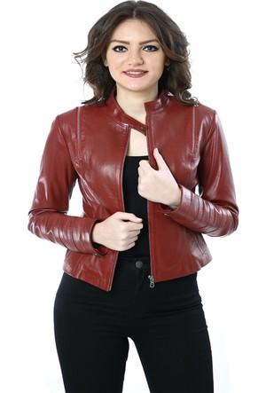 Deriza Osse Bordo Kadın Deri Ceket 39-Osse-B