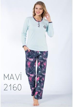 Kadın Pijama Takımı %100 Pamuk - Remsa 2160 - Mavi