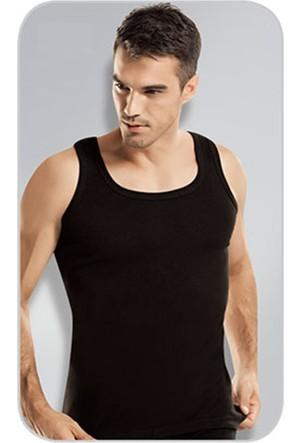 Elif Çamaşır Namaldi 12'Li Paket Klasik Ribana Erkek Atlet Siyah