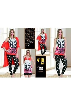 Lady 4'lü Pijama Takımı Set L13425