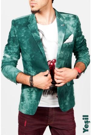Deepsea Yeşil Renkli Keten Slim Fit Erkek Ceket 1504162-009