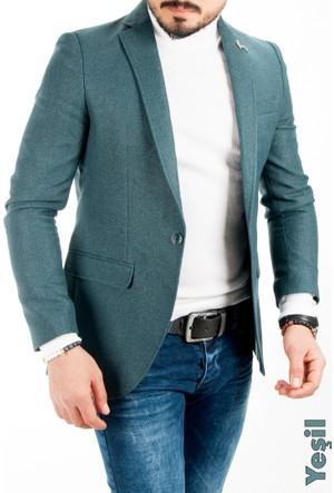 Deepsea Yeşil İtalyan Kesim Önü Pensli Slim Fit Tek Düğme Erkek Ceket 1612017-009