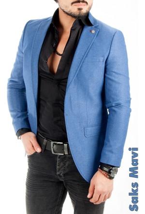 Deepsea Saks Mavi İtalyan Kesim Önü Pensli Slim Fit Tek Düğme Erkek Ceket 1612017-025