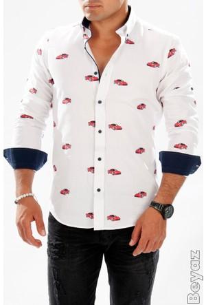 Deepsea Beyaz Araba Desenli Uzun Kollu Erkek Gömlek 1602049-001