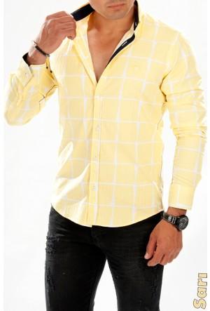 Deepsea Sarı Büyük Kare Desenli Armalı Uzun Kollu Erkek Gömlek 1602106-015