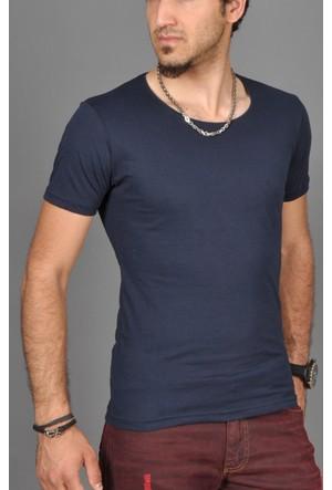 Deepsea Lacivert Geniş Sıfır Kayık Yaka Erkek Tişört 1509090-008