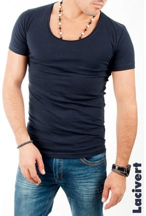 Deepsea Lacivert Basic Geniş-Derin Yakalı Likralı Erkek Tişört 1601036-008