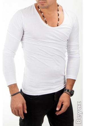 Deepsea Beyaz Salaş V Yaka Basic Likralı Uzun Kollu Sweat 1601037-001