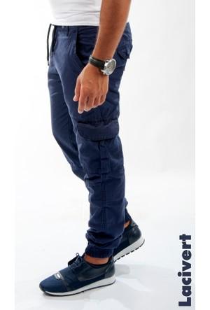 Deepsea Lacivert Paçası Ve Beli Lastikli Bağcıklı Erkek Kargo Pantolon 1601569-008