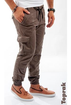 Deepsea Toprak Paçası Ve Beli Lastikli Bağcıklı Erkek Kargo Pantolon 1601569-215