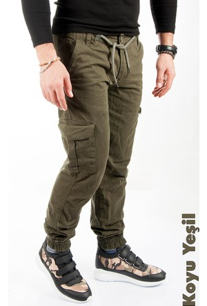 Deepsea Koyu Yeşil Paçası Ve Beli Lastikli Bağcıklı Erkek Kargo Pantolon 1601569-85