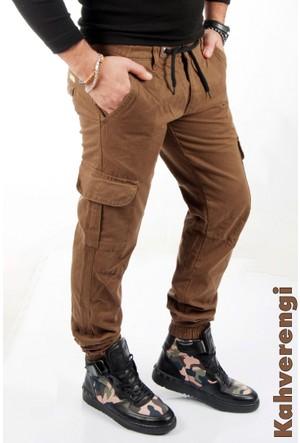 Deepsea Kahve Paçası Ve Beli Lastikli Bağcıklı Erkek Kargo Pantolon 1601569-007